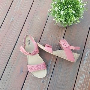 Clarks Velcro Leather Strap Wedges